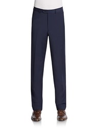 Saks Fifth Avenue Slim Fit Flat Front Wool Trousers Navy