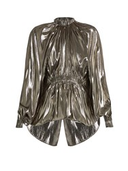 Ellery Echo Bubble Hem Lame Blouse Silver