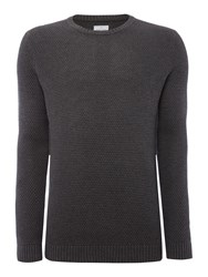 Peter Werth Men's Aileron Textured Cotton Crew Neck Charcoal