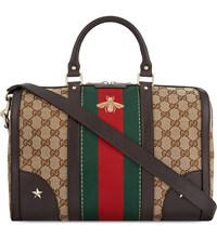 Gucci Vintage Web Stripe Bowling Bag Black Prnt Multi