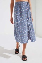 Urban Outfitters Uo Frankie Button Down Midi Skirt Blue Multi