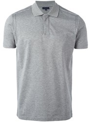 Lanvin Stitch Detail Polo Shirt Grey