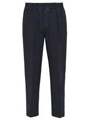 The Gigi King Cotton And Linen Blend Trousers Navy