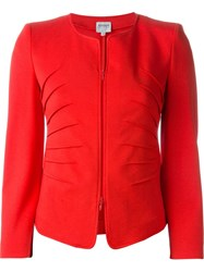 Armani Collezioni Fitted Zip Jacket Red