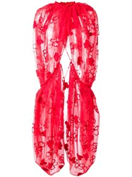Simone Rocha Lace Embellished Cape Red