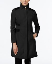 Via Spiga Petite Faux Leather Trim Wool Blend Walker Coat Black