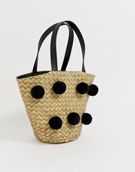 South Beach Straw Spotted Tote Bag Multi