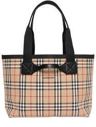 Burberry Giant Md Vintage Check Canvas Tote Archive Beige