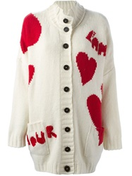 Valentino Amour And Heart Intarsia Cardigan White
