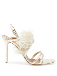 Malone Souliers Sonia Feather Trimmed Metallic Leather Sandals Silver