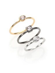Abs By Allen Schwartz Jewelry Mixed Solitaire Ring Set Gold Silver