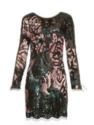 Roberto Cavalli Long Sleeved Sequin Embellished Mini Dress Green Multi