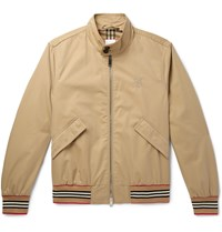 Burberry Logo Embroidered Cotton Twill Bomber Jacket Neutrals