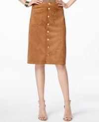 Inc International Concepts Faux Suede Button Down Skirt Only At Macy's Bronze Camel