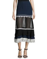 Jonathan Simkhai Tiered Fringe Silk Midi Skirt Navy Black White