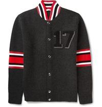 Givenchy Appliqued Wool Cardigan Gray