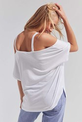 Silence And Noise Split Cut Cold Shoulder Tee White