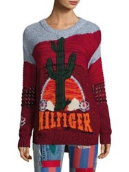 Tommy Hilfiger Collection Runway Intarsia Cactus Long Sleeve Sweater Rio Red Multi