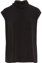 Alice Olivia Leather Trimmed Stretch Knit Turtleneck Sweater Black