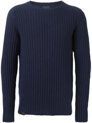 Massimo Piombo Ribbed Sweater Blue