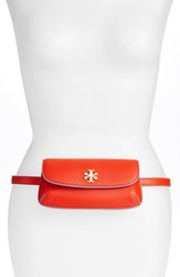 Tory Burch 'Slim Diana' Leather Flap Clutch Red Poppy Red