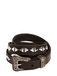 Saint Laurent 20Mm Western Studded Leather Belt
