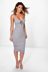 Boohoo Cup Detail Lace Up Midi Bodycon Dress Grey