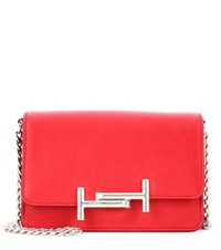 Tod's Micro Double T Leather Crossbody Bag Red