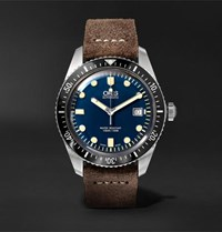 Oris Divers Heritage Sixty Five 42Mm Stainless Steel And Burnished Leather Watch Brown