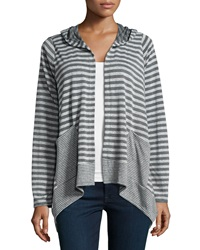 Neiman Marcus Contrast Striped Hooded Cardigan Charcoal Heather Gray