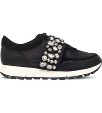 Kg By Kurt Geiger Lovely Embellished Satin Trainers Black