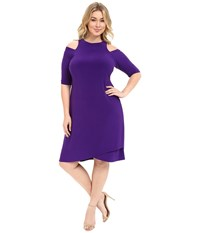 Kiyonna Racy Faux Wrap Dress Violet Women's Dress Purple