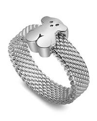 Tous Sterling Silver Small Mesh Ring No Color