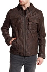 Cole Haan Washed Genuine Leather Trucker Jacket Brown