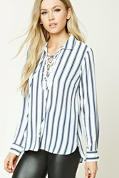 Forever 21 Lace Up Striped Shirt Ivory Navy