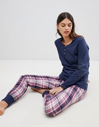 Esprit Check Pyjama Set Blue