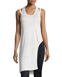 Peony Linen Long Fashion Tank Black