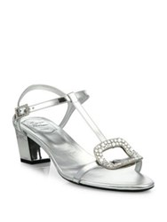 Roger Vivier Chips Crystal Buckle Metallic Leather T Strap Sandals Silver