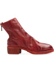 Guidi Zip Detail Ankle Boots Red