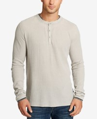 William Rast Men's Kurt Waffle Knit Henley Heather Grey