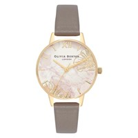 Olivia Burton Ob16vm31 'S Abstract Florals Faux Leather Strap Watch Grey Multi