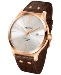 Tw Steel Unisex Slim Line Brown Leather Strap Watch 45Mm Tw1304
