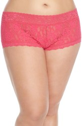Hanky Panky Plus Size Women's Stretch Lace Boyshorts Tickled Pink
