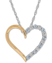 Macy's Aquamarine 1 4 Ct. T.W. And Diamond Accent Heart Pendant Necklace In Sterling Silver And 14K Gold Two Tone