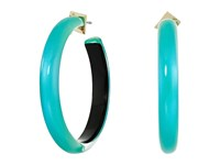 Alexis Bittar Large Hoop Earrings Turquoise Opalescent Clear Earring Blue