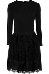 Red Valentino Lace Trimmed Stretch Jersey And Swiss Dot Tulle Mini Dress Black