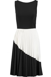 8 Pleated Jersey And Crepe Two Tone Mini Dress Black