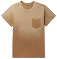 Billy Marshall Distressed Cotton Jersey T Shirt Orange