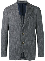 Tagliatore Textured Two Button Blazer Men Cotton Linen Flax Acrylic Cupro 54 Grey