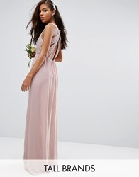 Tfnc Tall Wedding Pleated Maxi Dress With Open Back Detail Mauve Pink